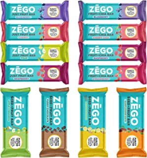 product image for ZEGO 12 Bar Variety Pack - Purity Tested, Gluten Free, Allergy Friendly (1 Bar Each of Seed+Fruit, Fruit+Chia, Just Fruit, & Berry Decadence Bars) - 12 Bars Total