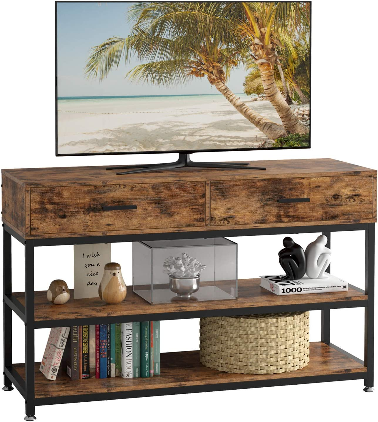 IRONCK Industrial TV Stand for 55 Inch TV with Drawers, TV Stand Console Table Entertainment Center for Living Room, 47.2x15.7x29.5 Inches, Vintage Brown