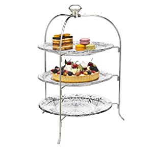 Godinger 3 Tiered Platter Stand - Dublin Crystal Collection