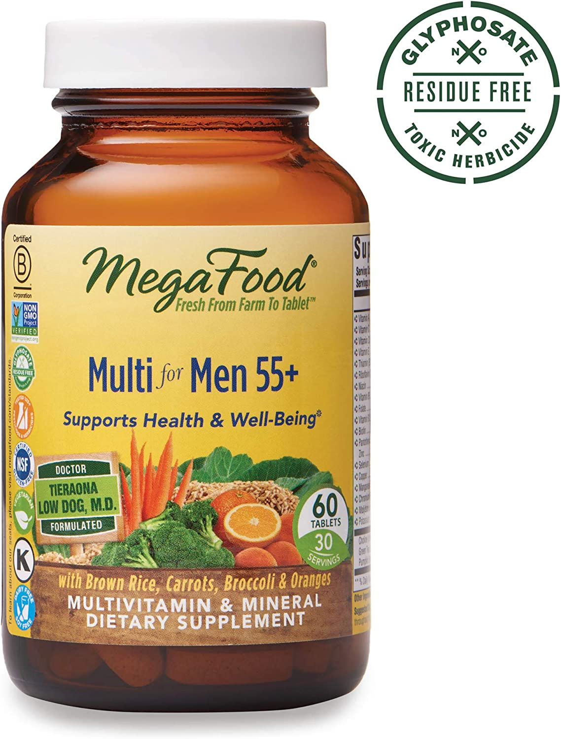 MegaFood, Multi for Men 55 , Supports Optimal Health and Wellbeing, Multivitamin and Mineral Supplement, Gluten Free, Vegetarian, 60 Tablets 30 Servings FFP