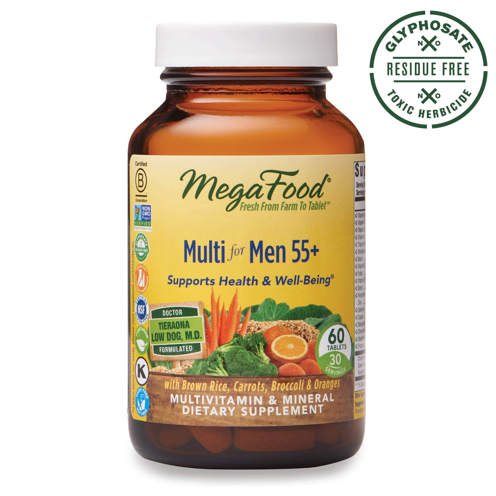 MegaFood, Multi for Men 55+, Supports Optimal Health and Wellbeing, Multivitamin and Mineral Supplement, Gluten Free, Vegetarian, 60 Tablets (30 Servings) (FFP) by MegaFood