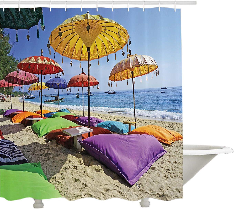 Colección de decoración balinesa de Yeuss,Playa prístina bañada por Las sombrillas diurnas de Bali Sandy Seashore Almohadas Imagen de Ocio,Cortina de baño de Tela de poliéster,con Ganchos,72'x80'