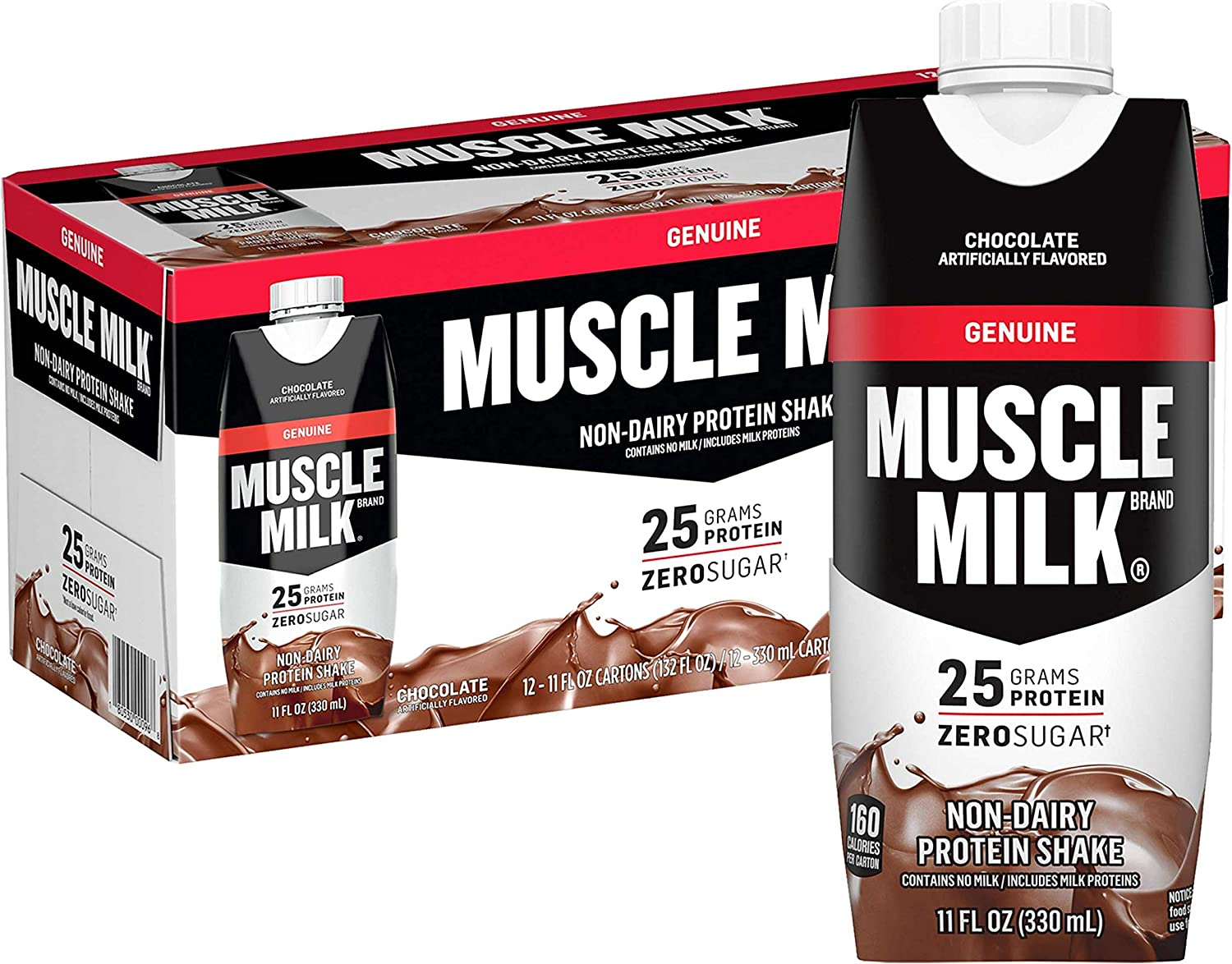 Muscle Milk Genuine Protein Shake, Chocolate, 25g Protein, 11 Fl Oz, 12 Pack: Health & Personal Care