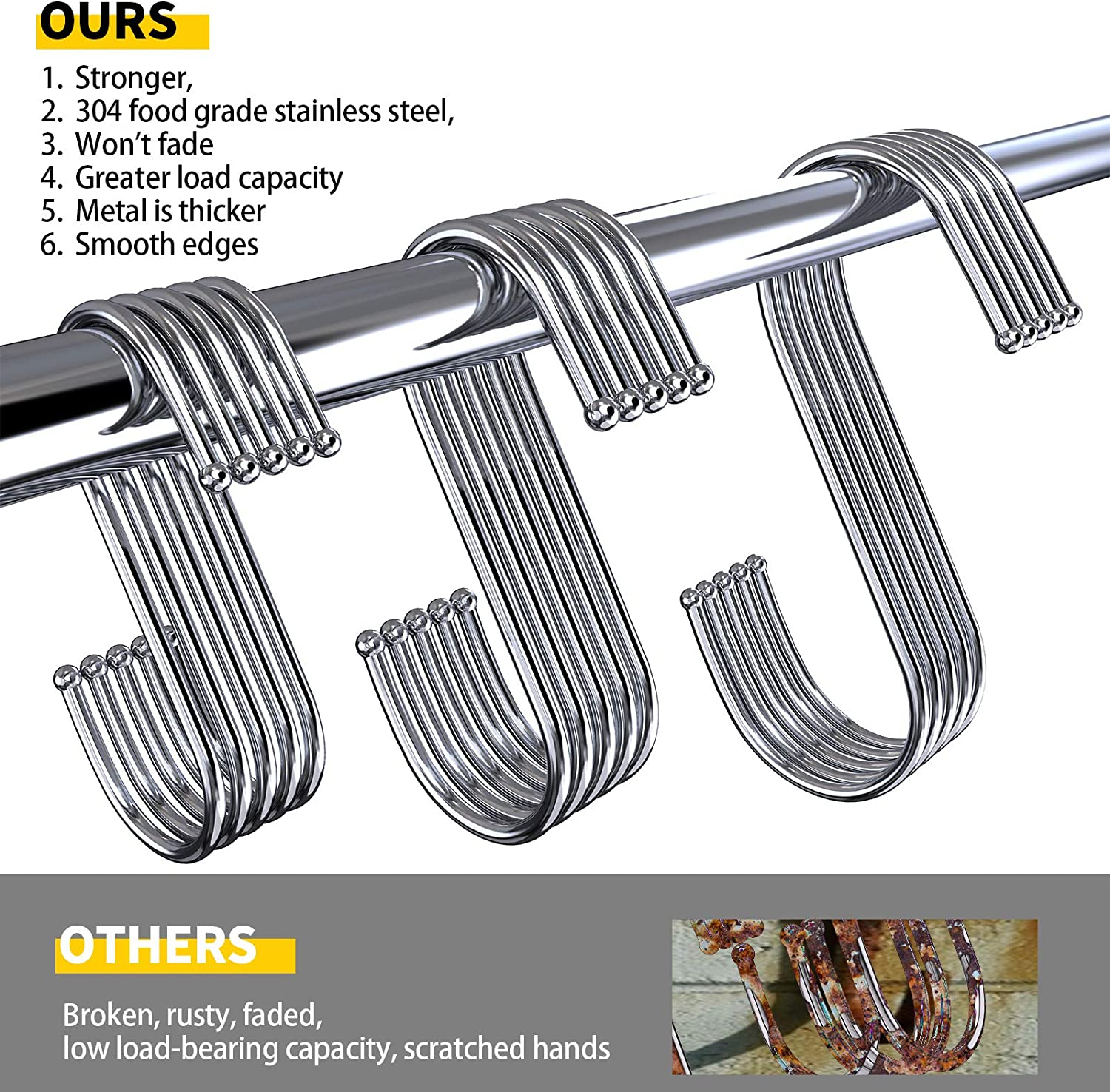 SIPU S Hooks Heavy Duty,Stainless Steel Hooks 25 Pack,Portable Metal Hanging Hook in The Kitchen and Bathroom,3.9//3.1//2.36 Inch Hooks.