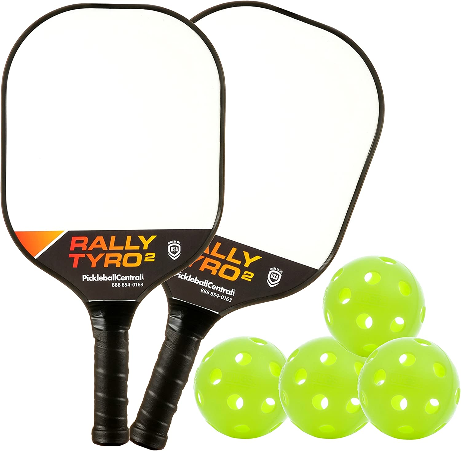 PickleballCentral Rally Tyro 2 Pickleball 2 Player Paddle and Ball Set Two (2) Rackets and Four (4) Balls | Advanced Composite Polypropylene Honeycomb Core and Fiberglass Face || Great Gift : Sports & Outdoors