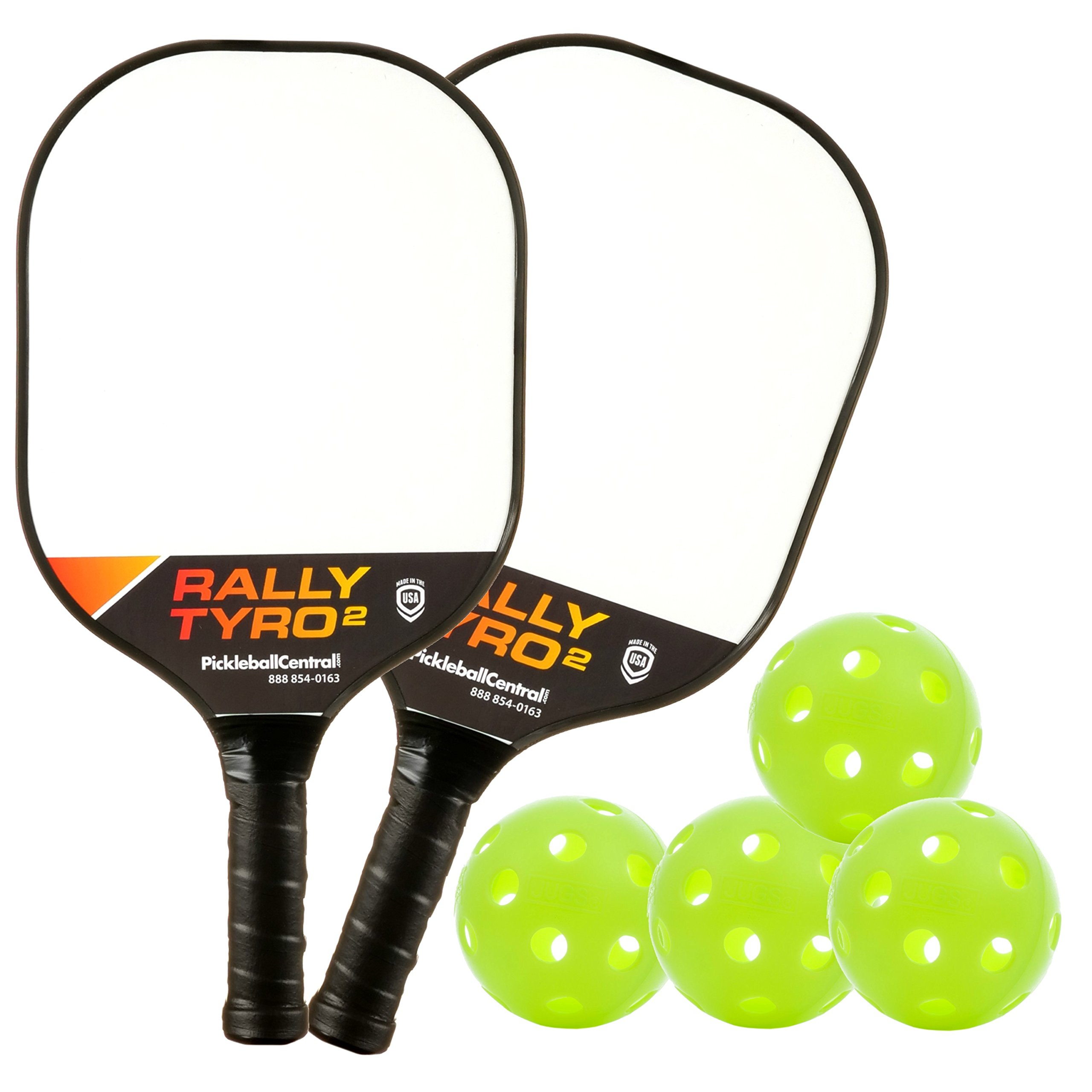 PickleballCentral Rally Tyro 2 Pickleball 2 Player Paddle and Ball Set Two (2) Rackets and Four (4) Balls | Advanced Composite Polypropylene Honeycomb Core and Fiberglass Face || Great Gift
