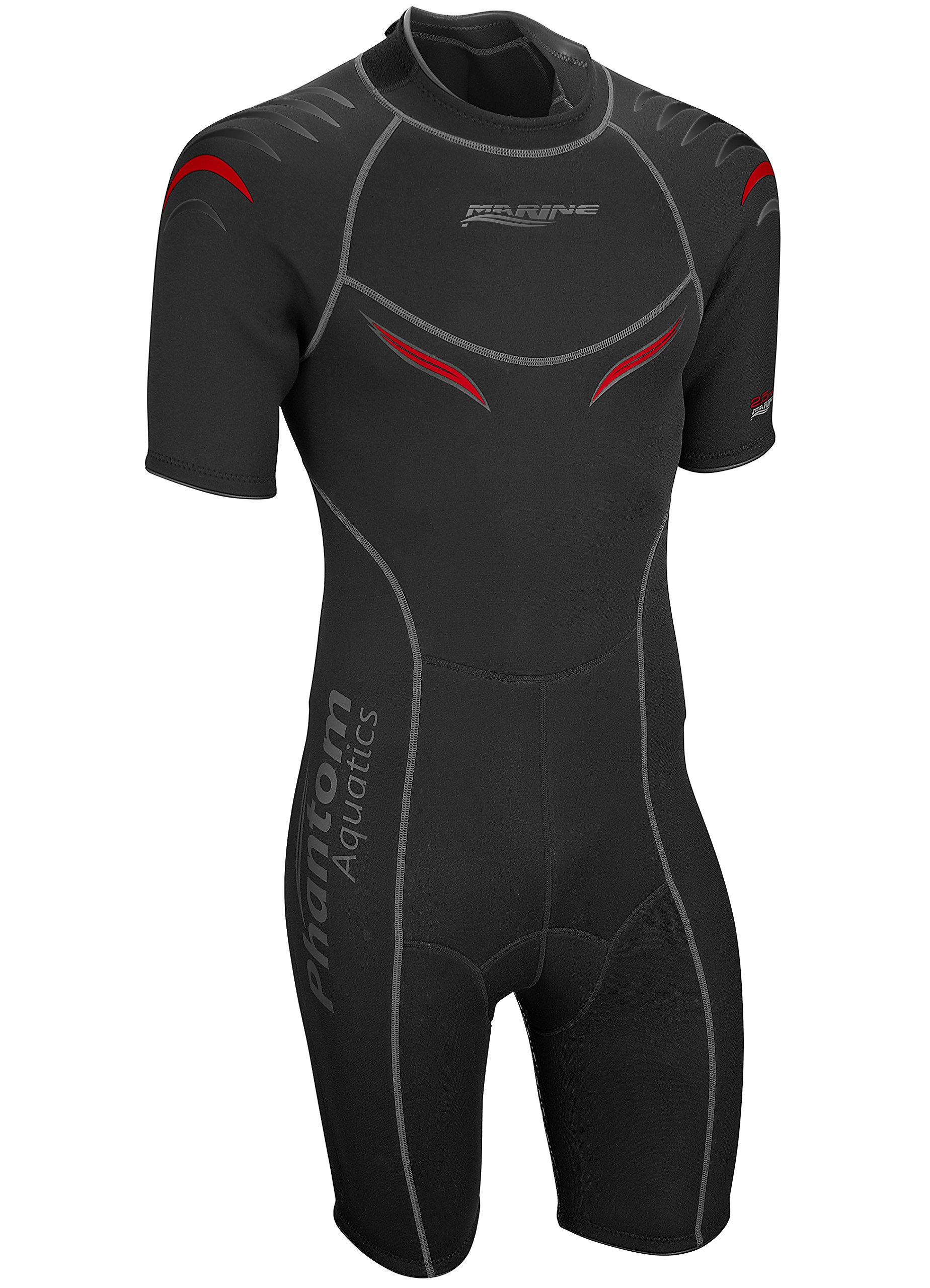 Phantom Aquatics Marine Men's Shorty Wetsuit, Black Red - Small