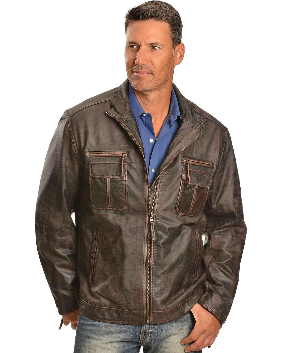 Scully Men's Vintage Lamb Zip Front Jacket Big and Tall Brown XXX-Large Tall