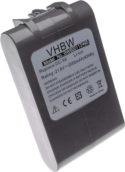 vhbw Batería Li-Ion 2000mAh (21.6V) para aspirador Dyson DC62, DC72, V6, V6 Absolute, V6 Animal Pro, V6 Flexi, etc. Toral Clean como 965874-02.: Amazon.es: Hogar