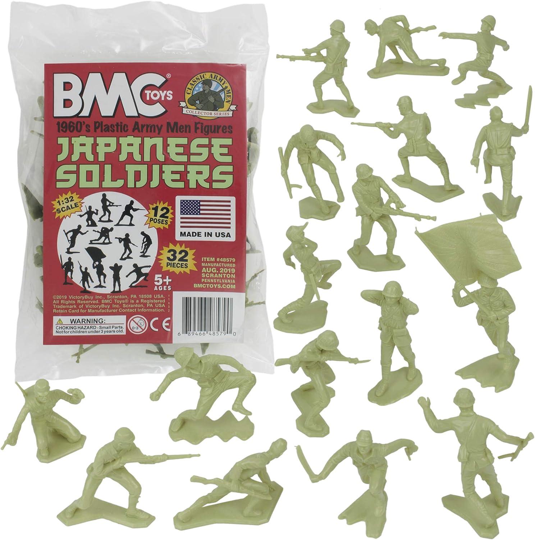 Green 32pc WW2 Soldier Figures BMC Classic Marx Japanese Plastic Army Men
