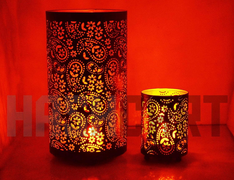 Set of 2 Black Votive Tea Light for Home Living Room /& Office Hashcart Traditional Tea Light Candle Holder//Metal Candle Light Holder Set//Designer Votive Candle Holder Stand