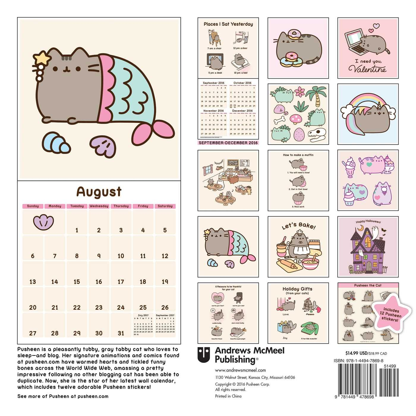 Pusheen the Cat 2017 Wall Calendar (Square Wall): Amazon.es ...