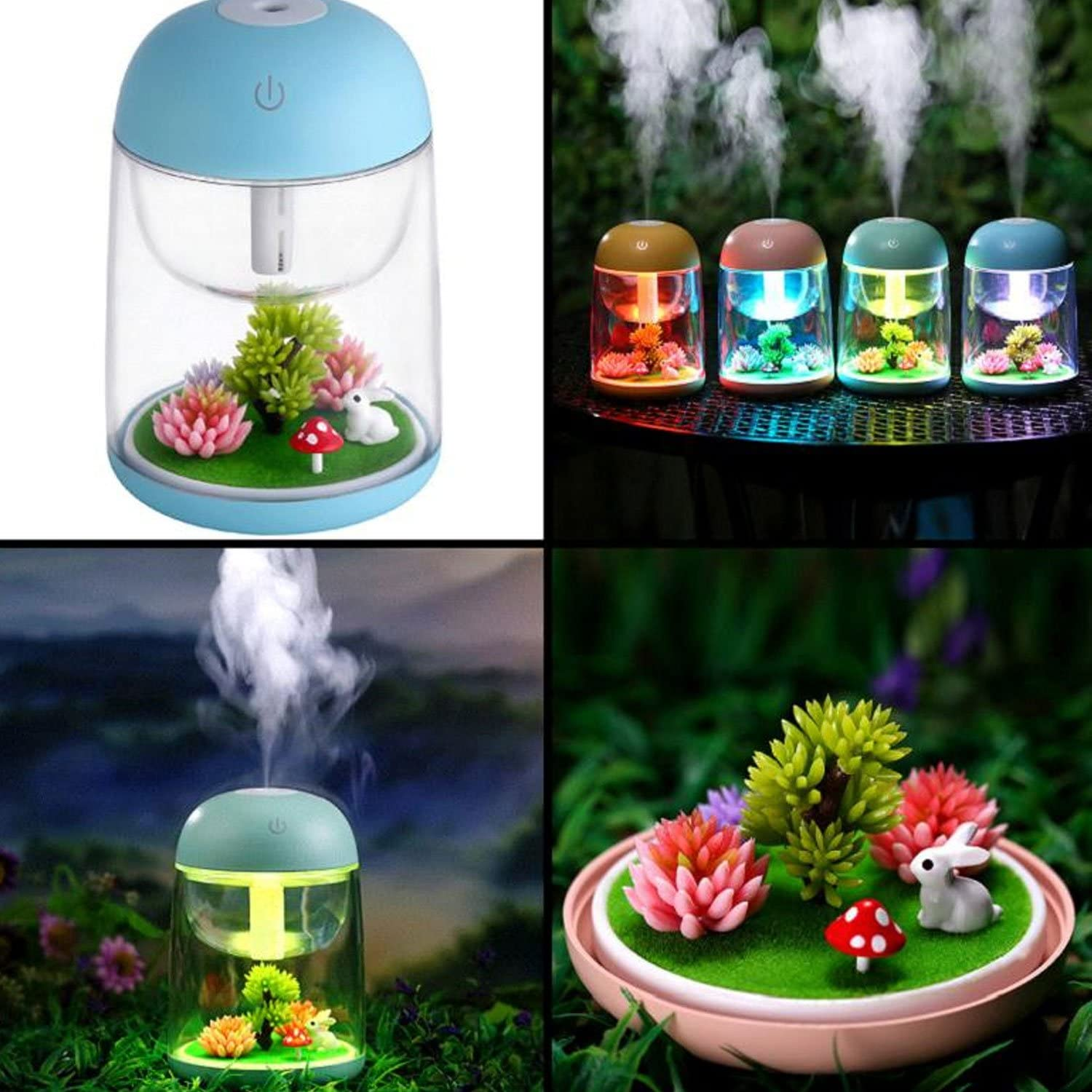Air Humidifier with Micro LED Landscape Adjustable Mist Mode green Waterless Auto Shut-off,for Various Places Like Bedroom,Office,Car