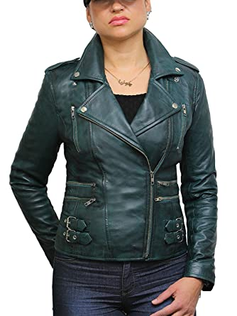 a5a344d5872d Ladies Womens 100% Real Leather Biker Jacket Green Fitted Bikers Style  Vintage Rock at Amazon Women's Coats Shop