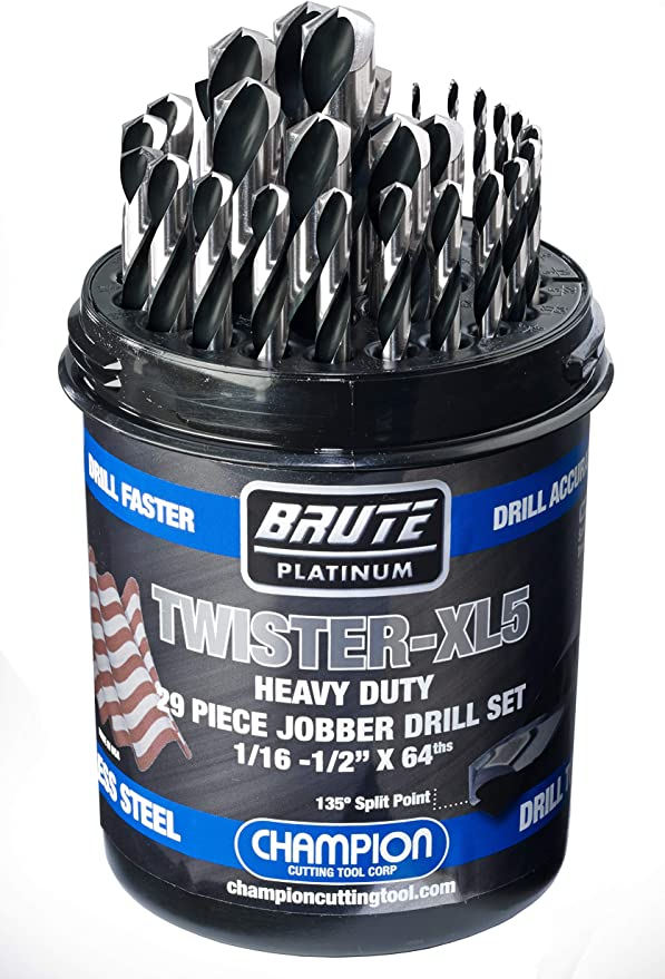 Champion Cutting Tool Heavy Duty BlackGold Jobber Drill Bits -MADE IN USA 135 Degree Split Point: XGO-W 6 pieces per pack