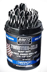 "Champion Cutting Tool Brute Platinum Twister-XL5 29 Piece 1/16""-1/2"" x 64ths HSS Jobber Drill Bit Set-135 Deg Split Point, Water Resistant Index-MADE IN USA"