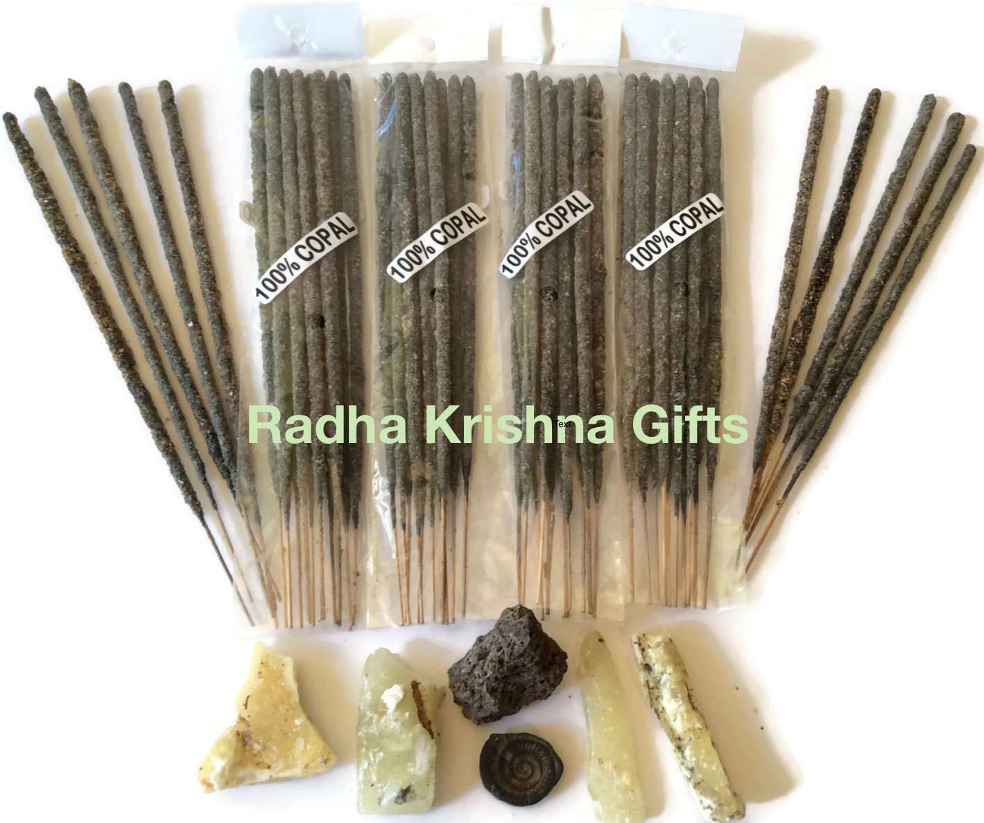 Mexican Copal Incense, 4 Bags with 10 Sticks Each. Handmade in Mexico with Gray Copal Resin. Radha Krishna Gifts.