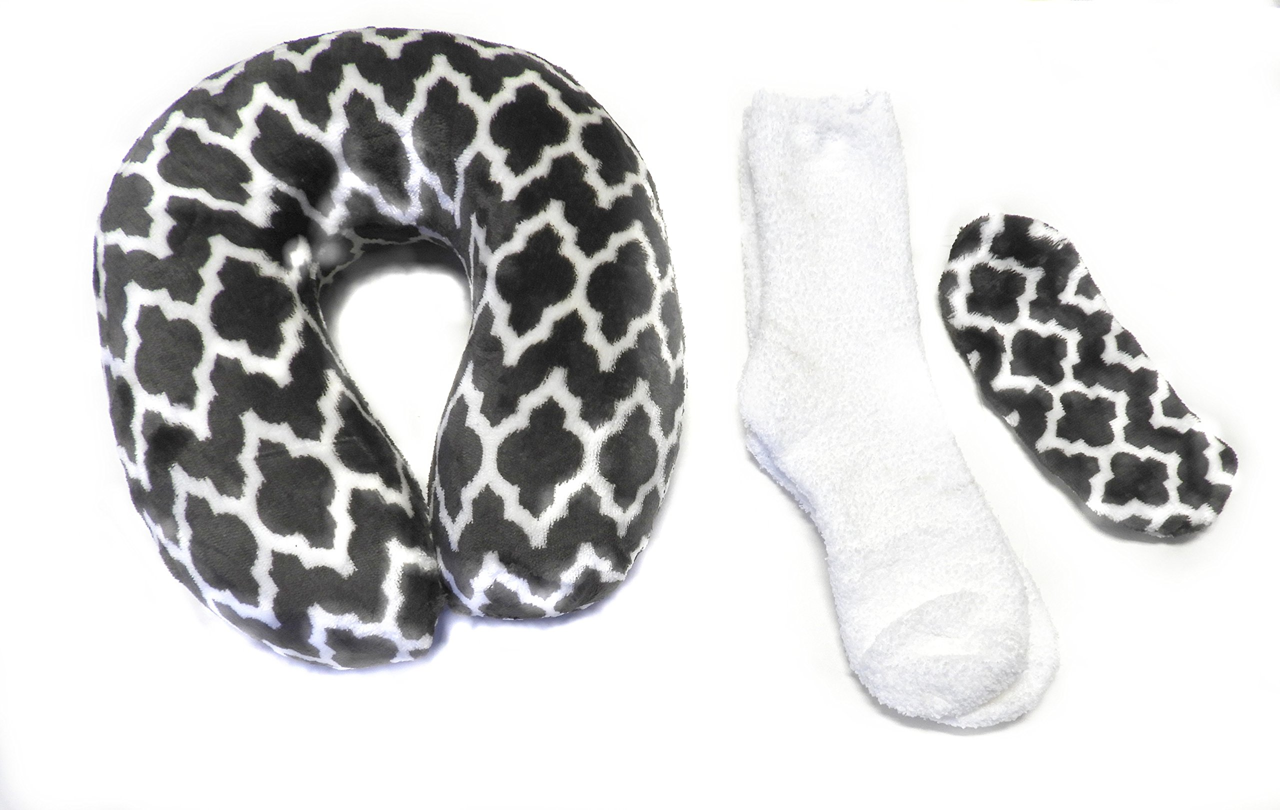 DINY Home & Style 3 Piece Plush Neck Travel Pillow Set Memory Foam with Cozy Socks and Velour Eye Mask (Grey & White)