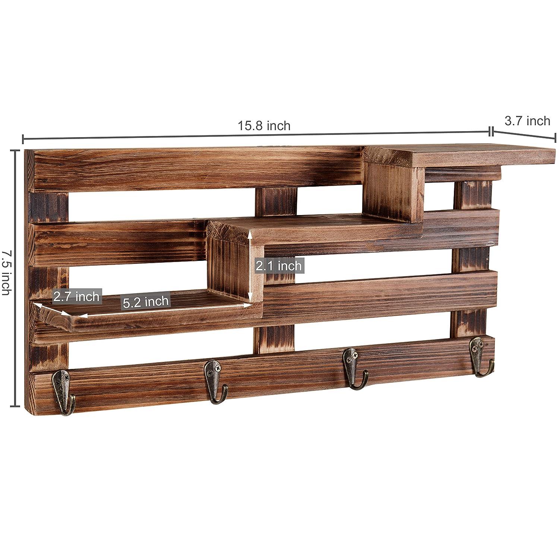 Amazon.com: MyGift - Estantería de madera con 4 ganchos para ...