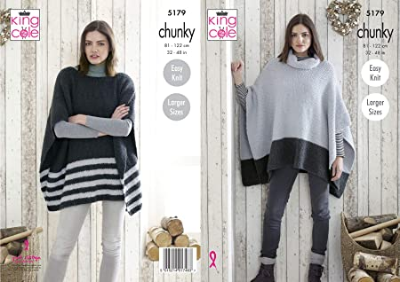 6fbdcce35 King Cole 5179 Knitting Pattern Womens Easy Knit Ponchos in Timeless ...