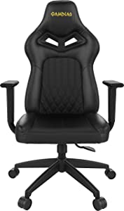 Gamdias Achilles E3 Gaming Chair Customizable RGB Back Light with Leather Style Vinyl seat, tilt with Adjustable Back Angle, Class 4 Hydraulic Pistons - Black