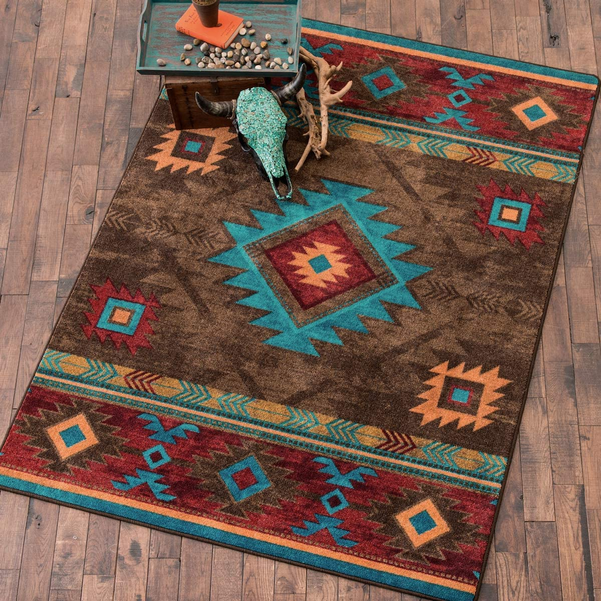 BLACK FOREST DECOR Whiskey River Turquoise Rug – 5 x 8