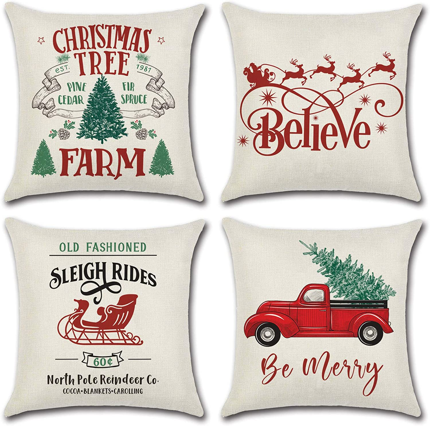 "Christmas Throw Pillow Covers 18""x 18"" 