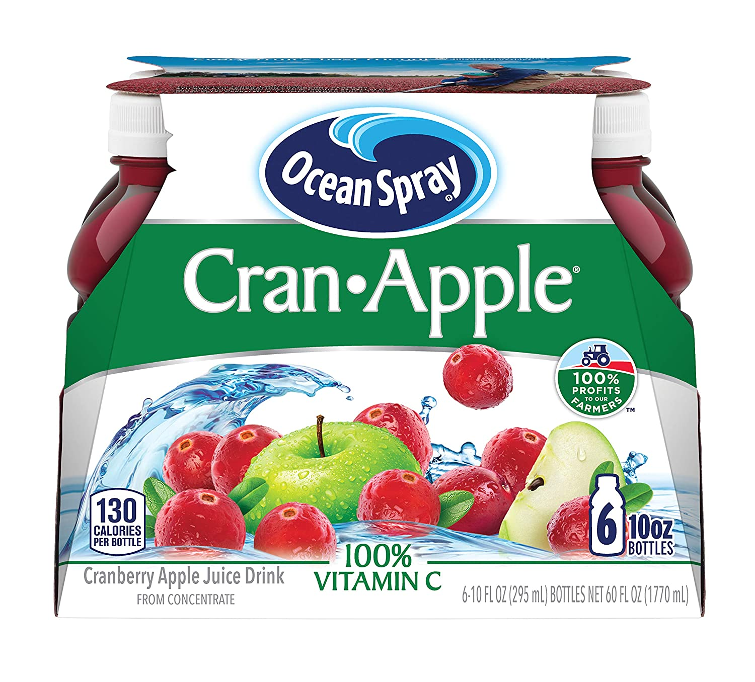 Archway Ocean Spray CranApple 10 Ounce Count, Cranberry Apple Juice Drink, 60 Fl Oz, (Pack of 6)