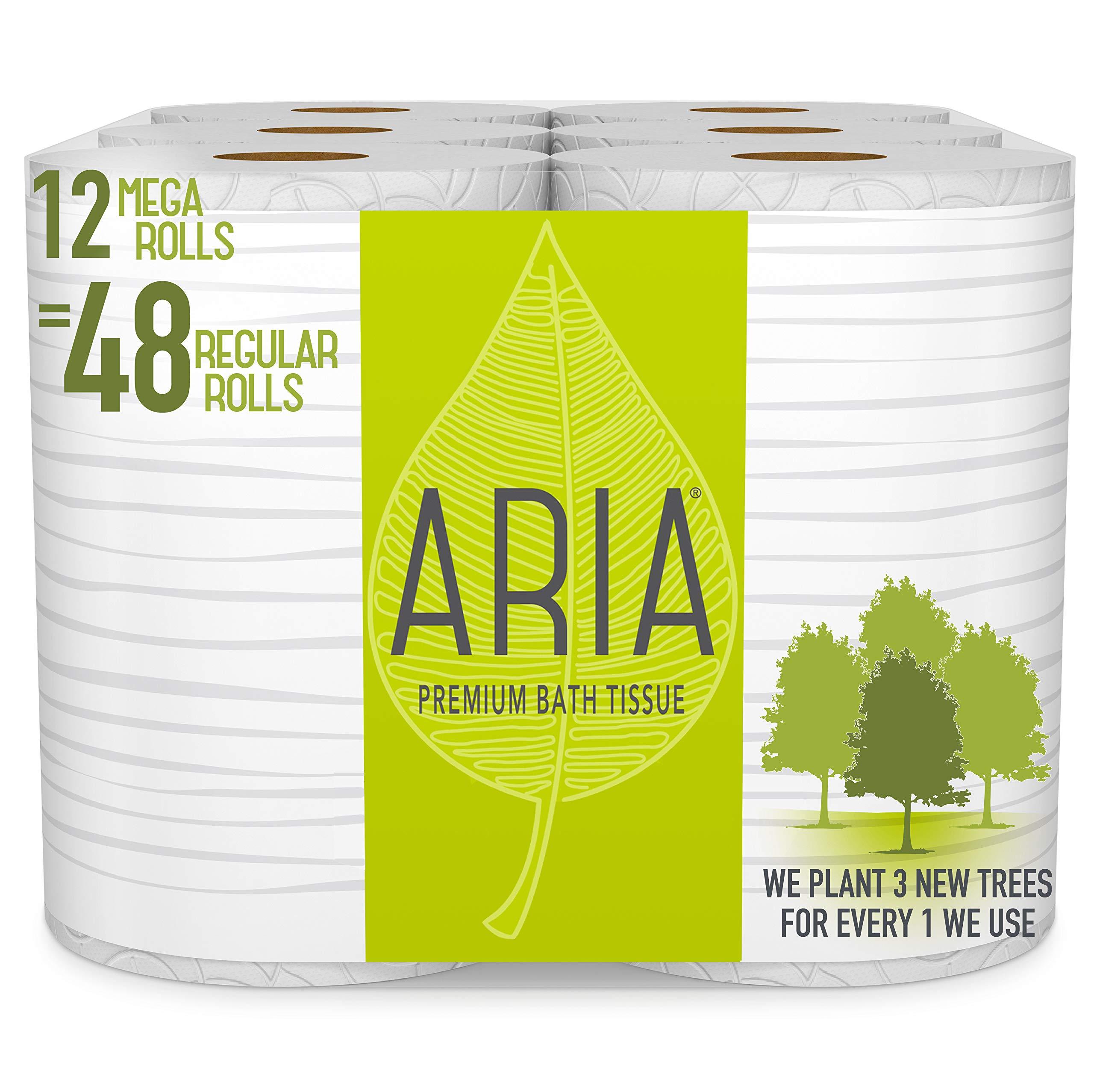 Aria Premium, Earth Friendly Toilet Paper, 12 Mega Rolls, 12 = 48 Regular Rolls, Eco Friendly Bath Tissue by Aria