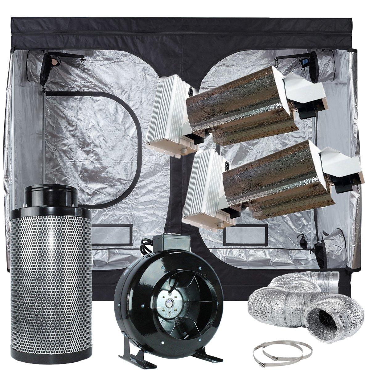 TopoLite Grow Tent Complete Kit Indoor GrowIng Syetem 120''x60''x80'' Dark Room+8''Filter Combo+2x Grow Light Kit (DE1000W Open Kit)