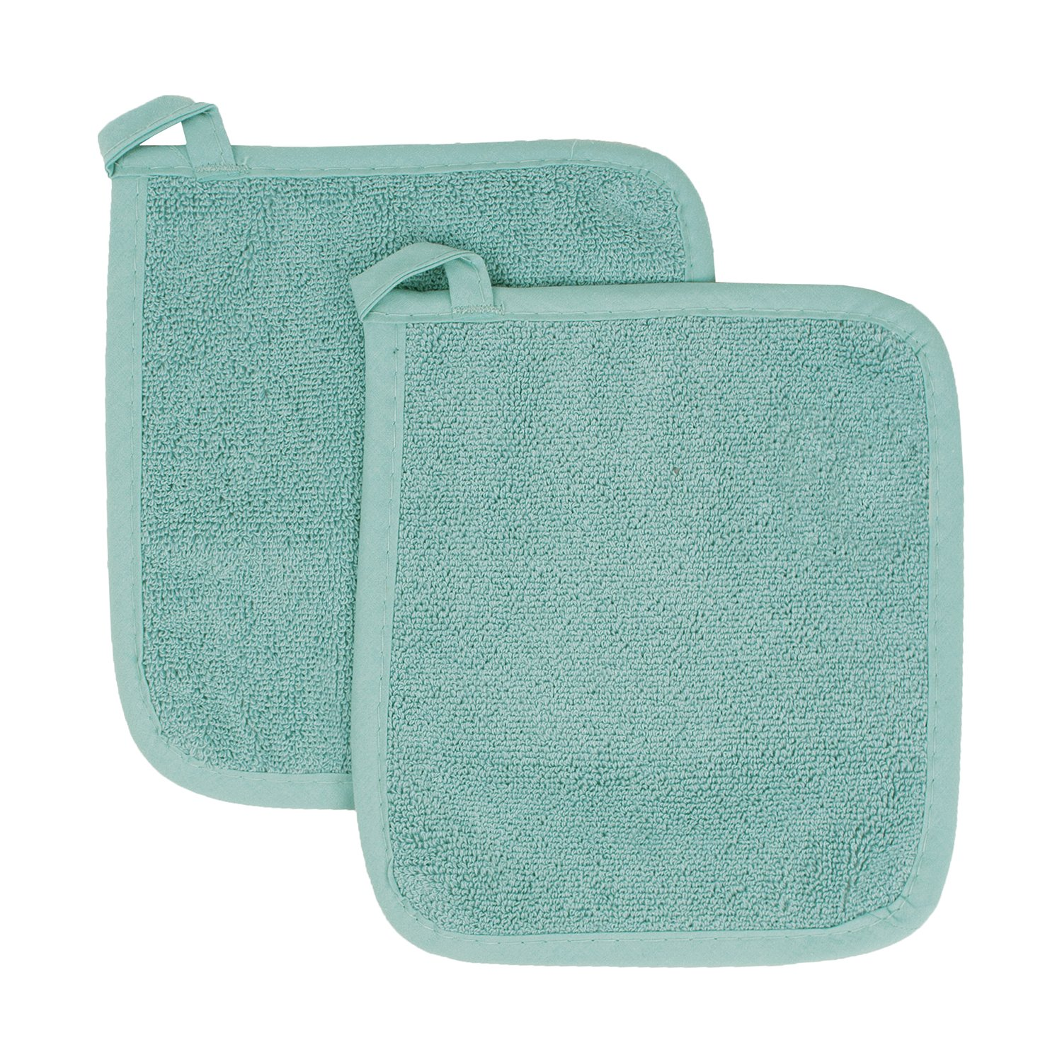 Ritz Royale Collection 100% Cotton Terry Cloth Pot Holder Set, Kitchen Hot Pad, 2-Pack, Dew