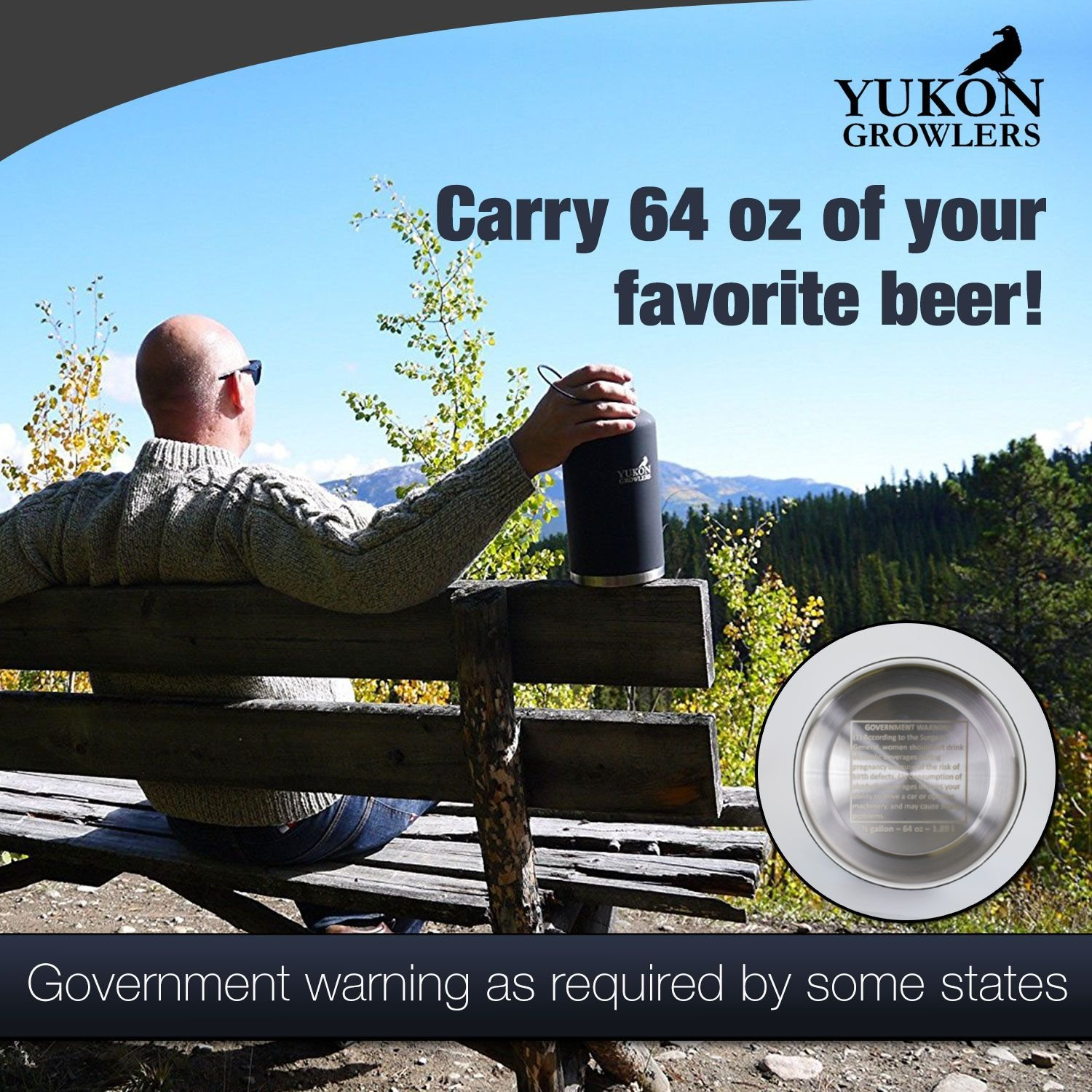 Yukon Growlers Insulated Beer Growler - Keep Your Beer Cold and Carbonated for 24 Hours - Stainless Steel Vacuum Water Bottle with Carrying Case Also Keeps Coffee Hot - Improved Lid - 64 oz by Yukon Growlers (Image #6)