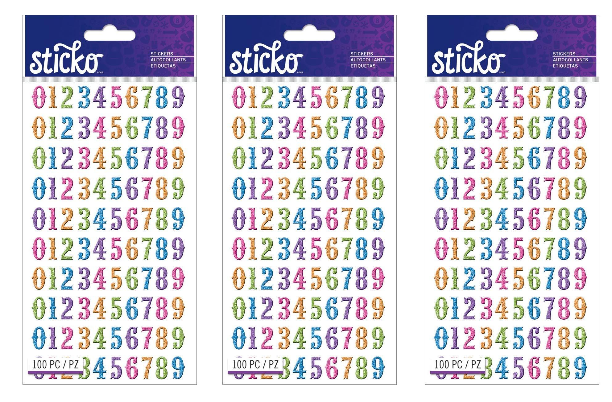 Sticko E5250036 Numbers Bright Glitter Stickers (Тhree Pаck)