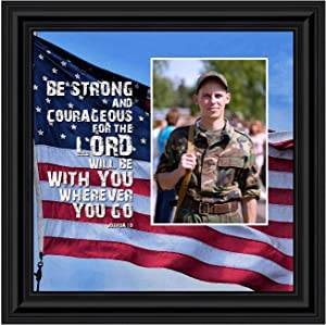 Crossroads Home Décor Be Strong and Courageous, Biblical Military Gift, American Flag Picture Frame, 6341B