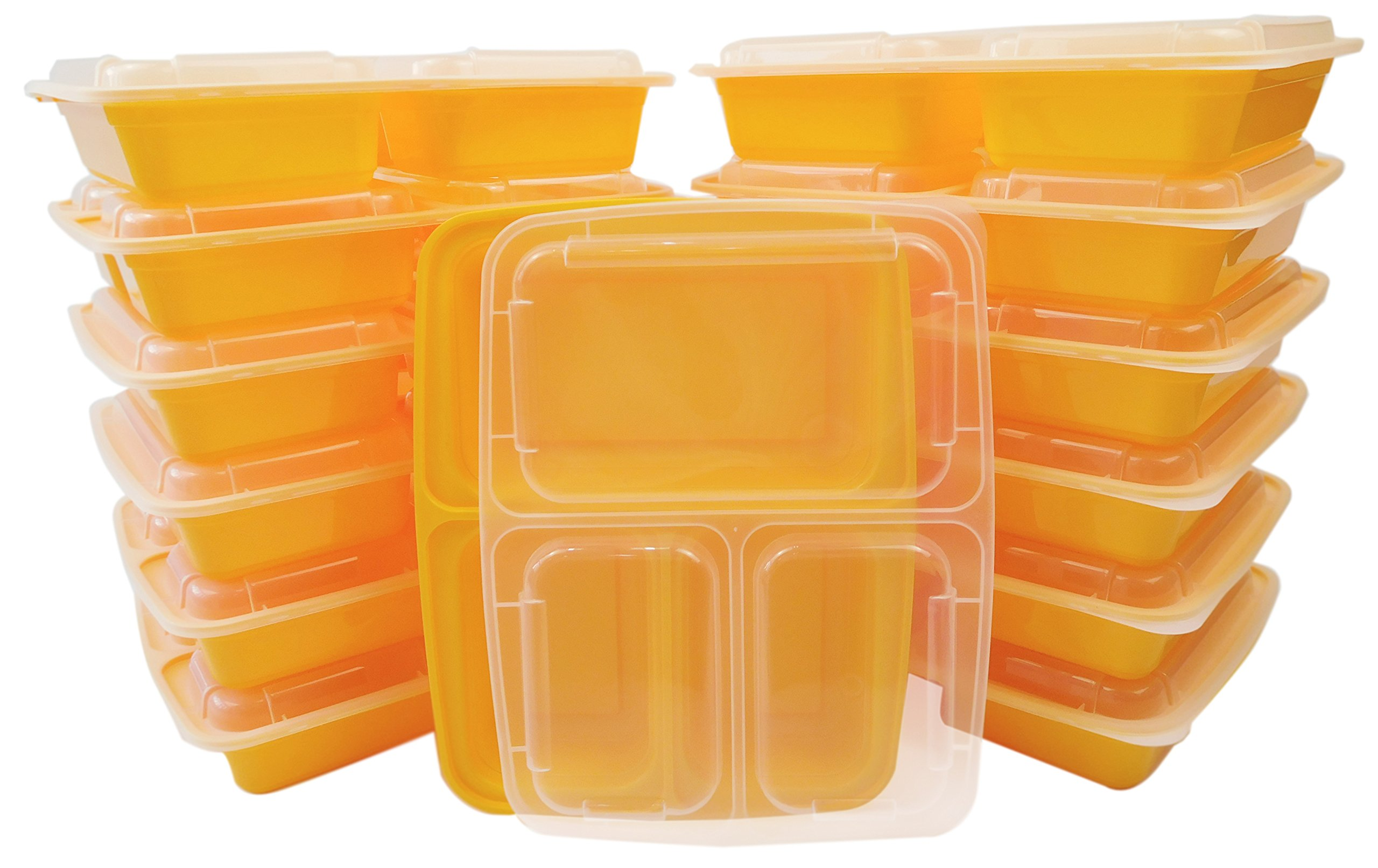 Table To Go 240-Pack Bento Lunch Boxes with Lids (3 Compartment/ 36 oz) | Microwaveable, Dishwasher & Freezer Safe Meal Prep Containers | Reusable Dish Set for Prepping(Yellow) by Table To Go