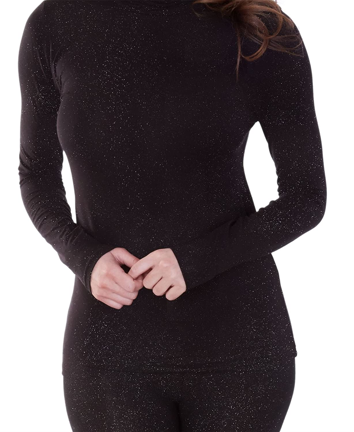 Womens Charnos Second Skin Thermalwear Sparkly Long Sleeve Top 58436 Black Silver Mix