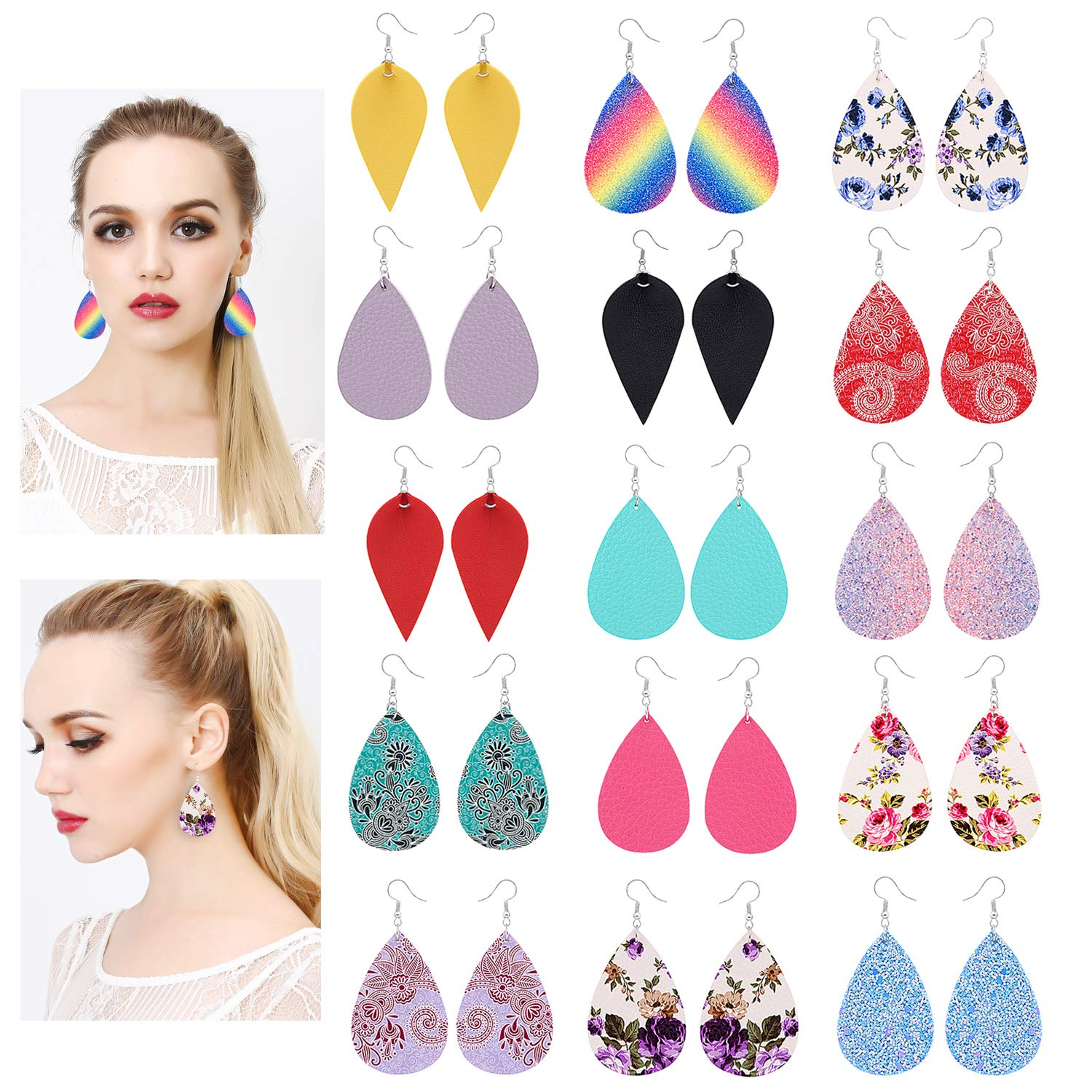 15 Pairs Petal Leather Earrings Antique Looking Faux Leather Teardrop Long Dangle Earrings Lightweight Leaf Red Yellow Pink Blue Handmade Floral Rainbow Print Drop Earrings Gift for Teens Girls Women luoyue
