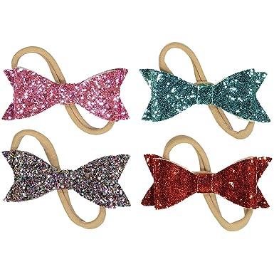 Amazon.com: Baby Girl Sparkle lazo cintas y lazos, varios ...