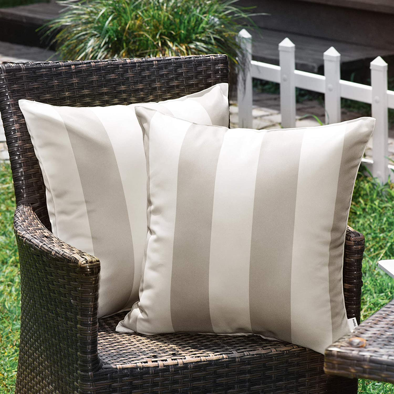 WESTERN HOME WH Outdoor Pillow Covers 20x20 Waterproof, Stripe Square Pillowcases Patio Throw Pillow Covers Cushions for Couch Bench Tent Garden - Pack of 2 Pillow Covers Sand