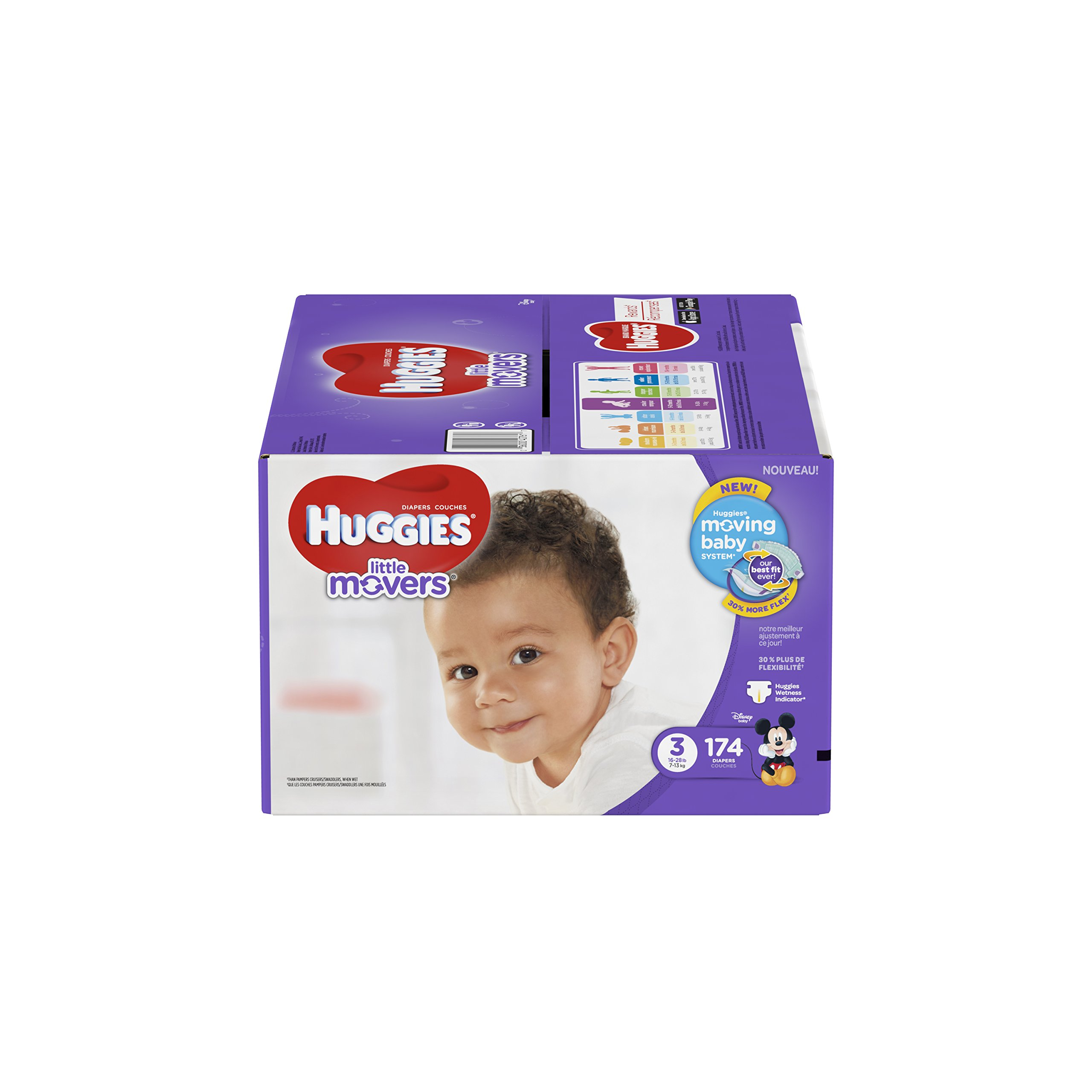 HUGGIES Little Movers Diapers, Size 3, For 16-28 lbs., Box of 174 Baby Diapers for Active Babies, Packaging May Vary