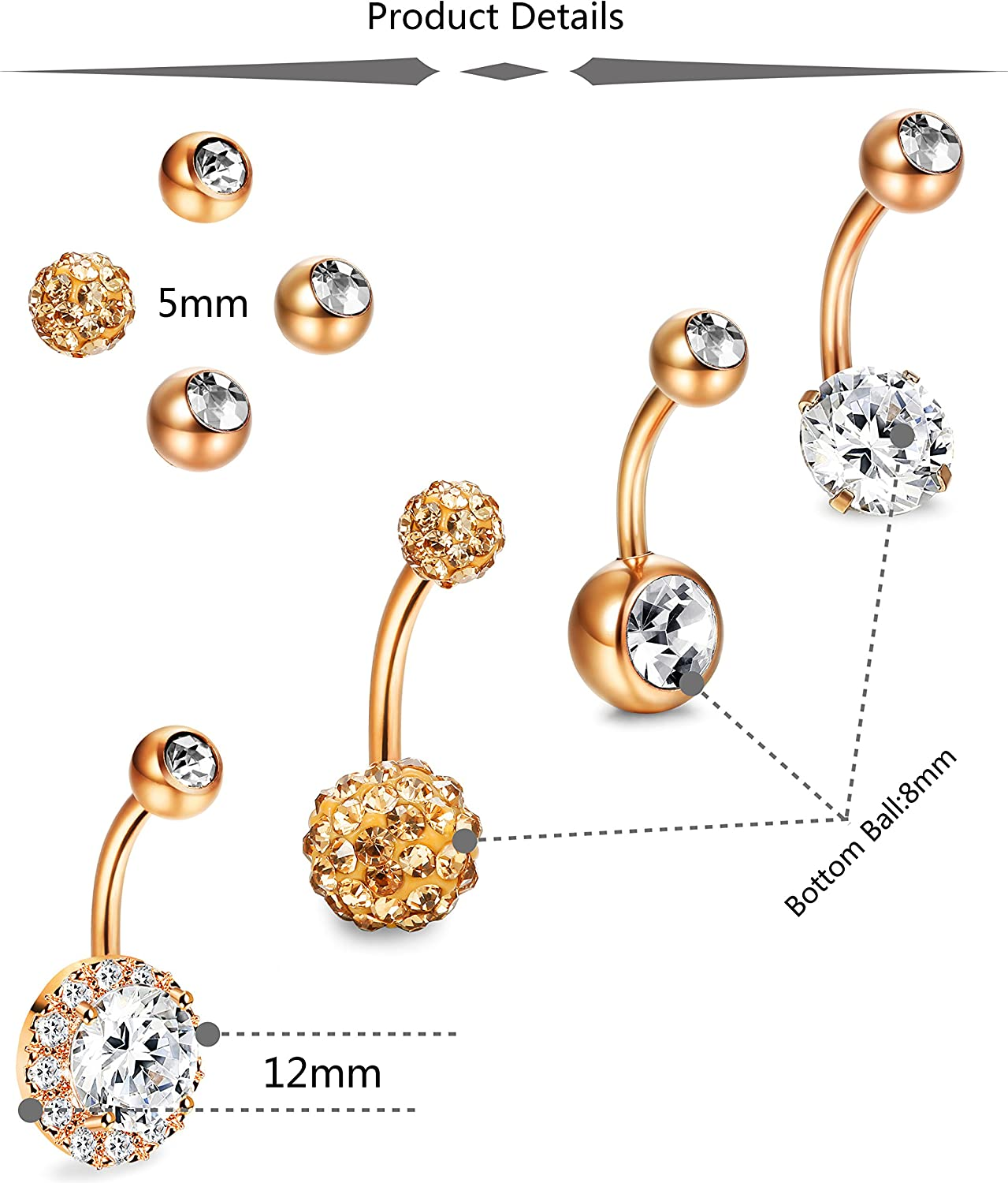 JOERICA 4PCS Stainless Steel Belly Button Rings Navel Body Jewelry Belly Piercing CZ Inlaid