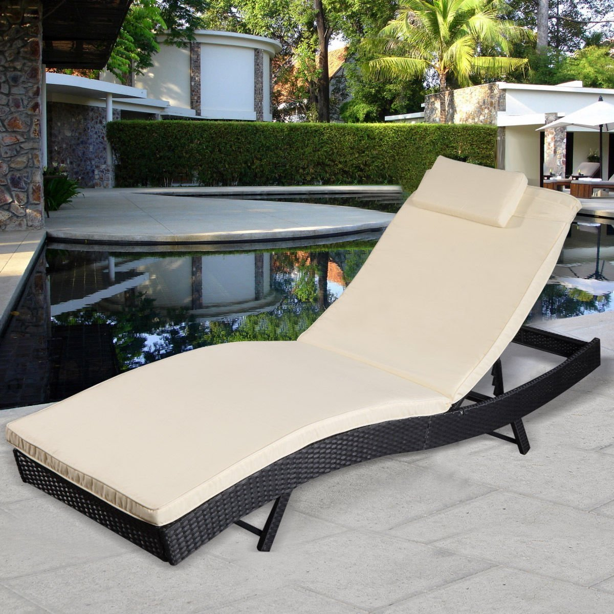 Outdoor outdoor chaise outdoor chaise lounge chairs design ideasthe best furnitures - Amazon Com Giantex Adjustable Pool Chaise Lounge Chair Outdoor Patio Furniture Pe Wicker W Cushion Patio Lawn Garden