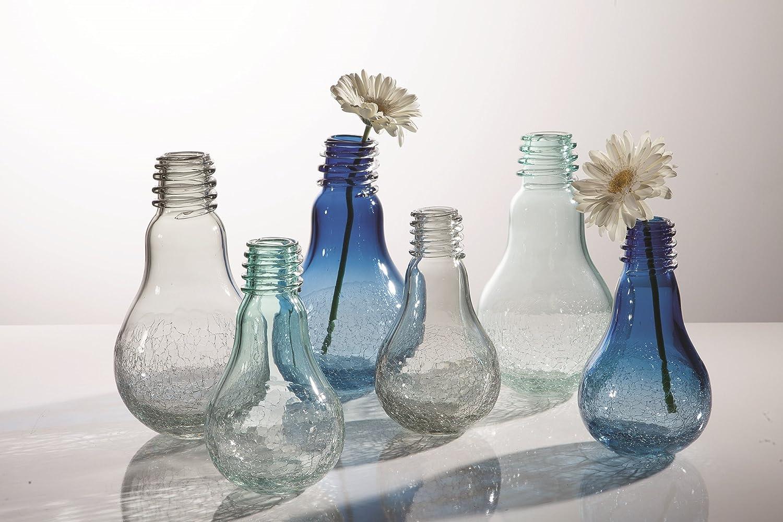 Tall Blue Torre /& Tagus 902060B Lightbulb Glass Crackle Vase