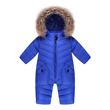 ebdfbfa9a XIRUI Children Winter Jumpsuit Lovely Rompers Baby Girl Winter Coat Warm  Boys Snowsuit Overalls Hooded Winter Romper With Fur For 3-30mothes:  Amazon.co.uk: ...