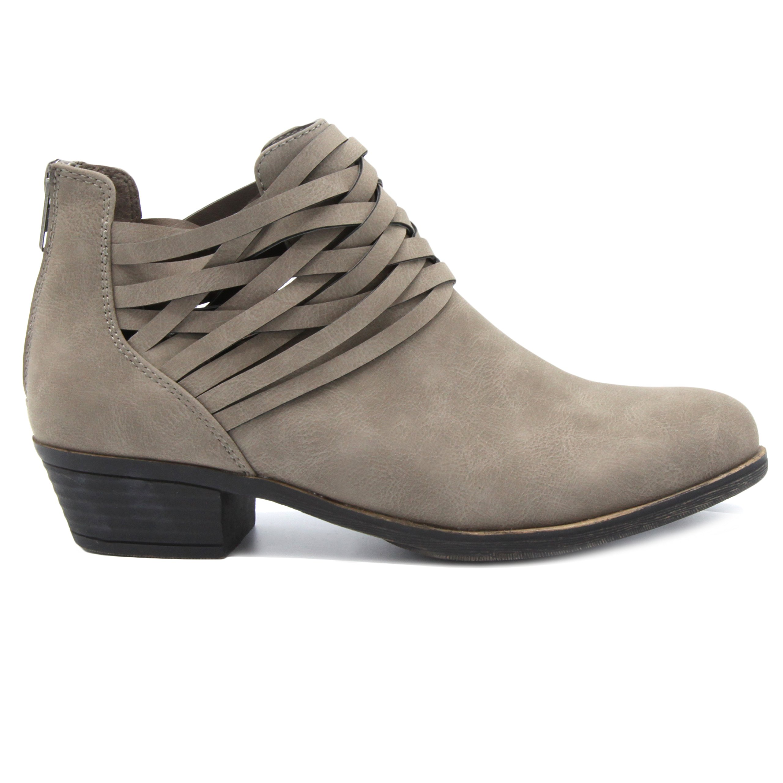 Sugar Women's Rhett Casual Boho Short Bootie with Criss Cross Straps Ankle Boot, Grey Distressed, 9 Medium US by Sugar (Image #8)