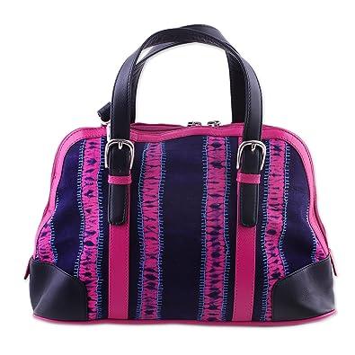 Novica Leather accent cotton handbag, Energetic Grey