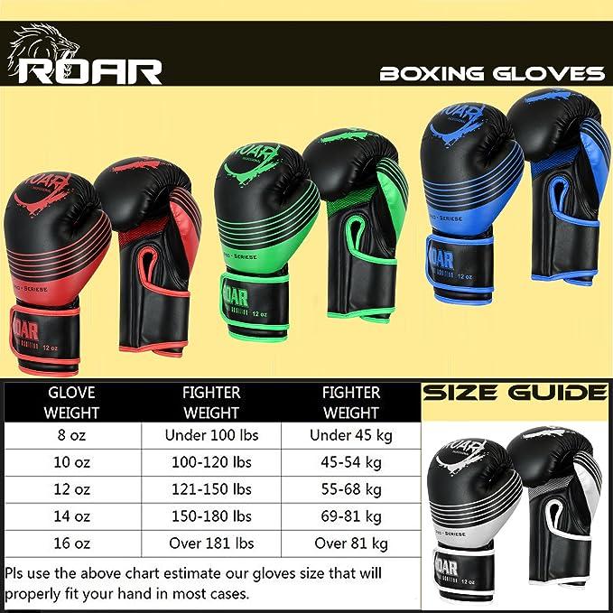 ROAR Boxing Gloves MMA Muay Thai Training 8oz 10oz 120z 14oz 16oz Punch Bag UFC