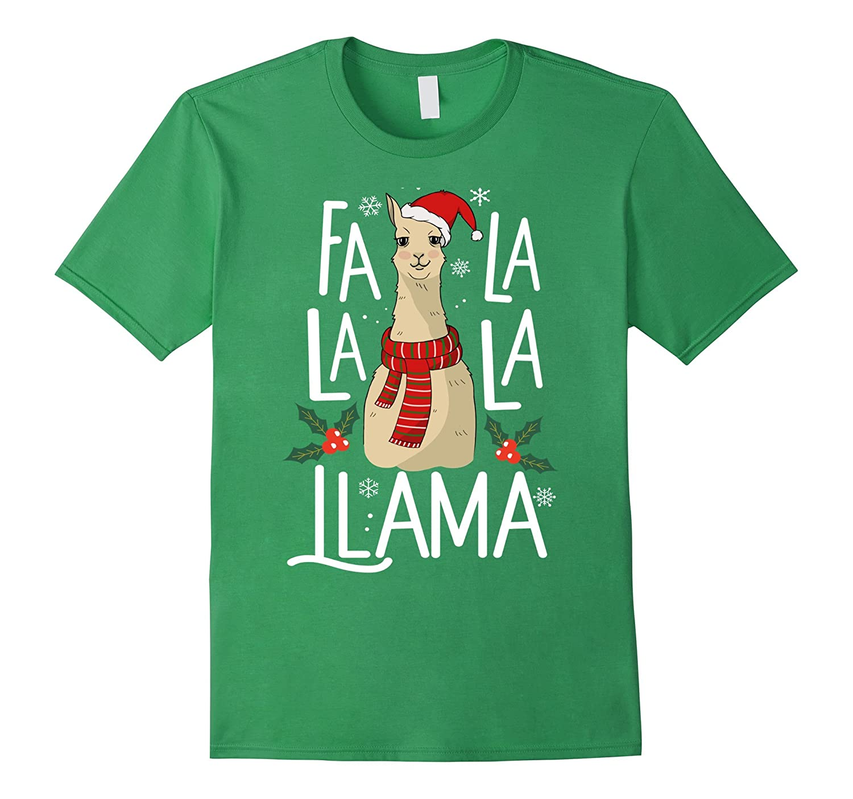 Fa La La La Llama Shirt Cute Santa Llama Christmas Song Tee-FL