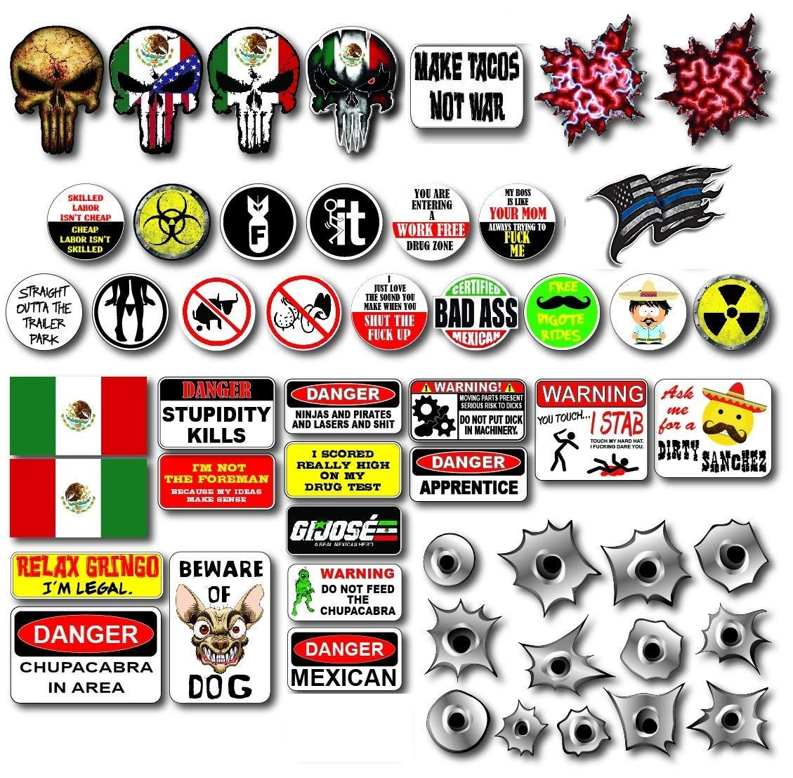 Premium mexico funny sticker pack 54 stickers for your car bumper hard hattoolbox construction site or laptop variety pack
