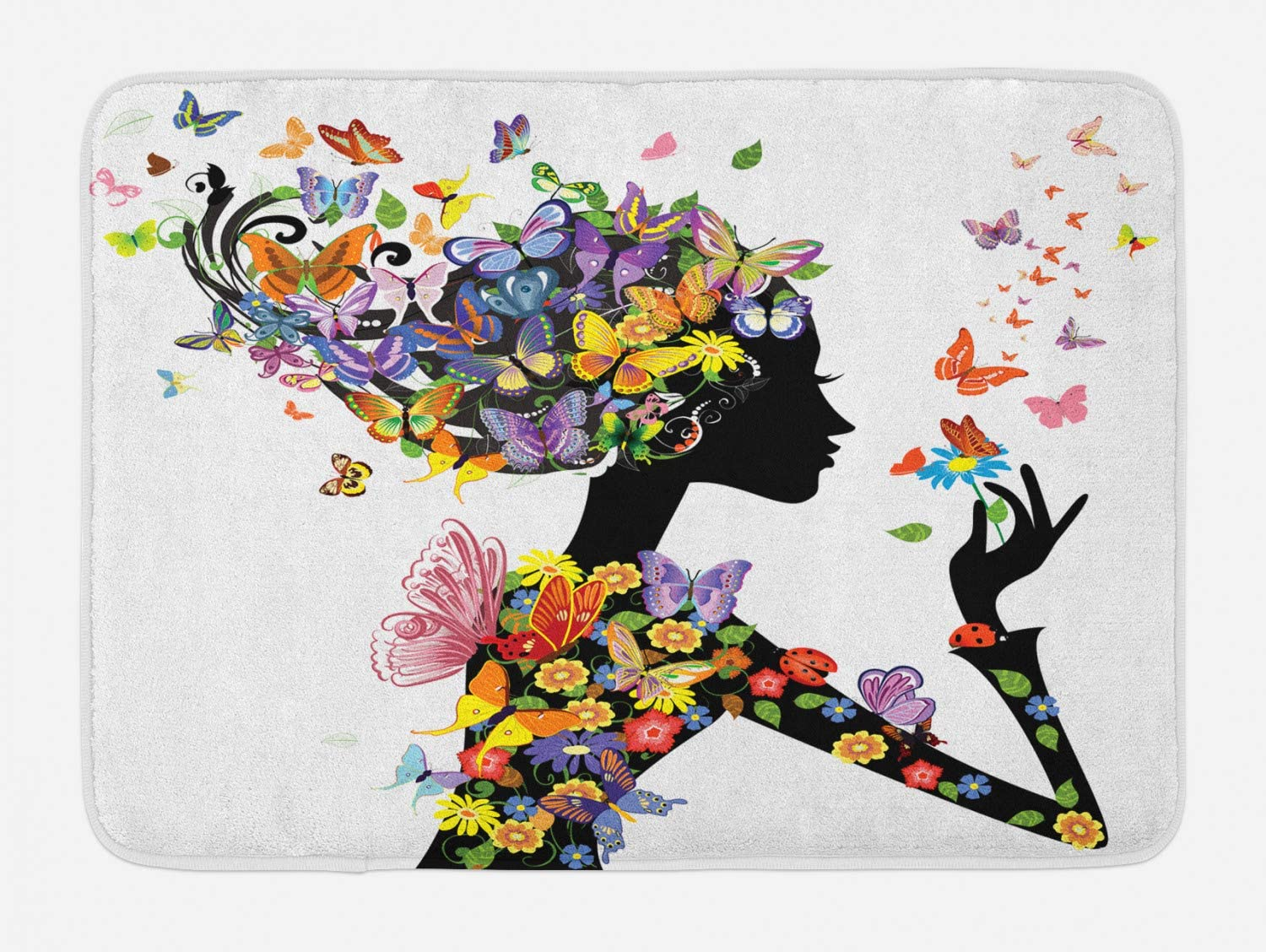 Ambesonne Butterflies Bath Mat, Girl Fashion Flowers with Butterflies Ornamental Floral Foliage Nature Forest, Plush Bathroom Decor Mat with Non Slip Backing, 29.5